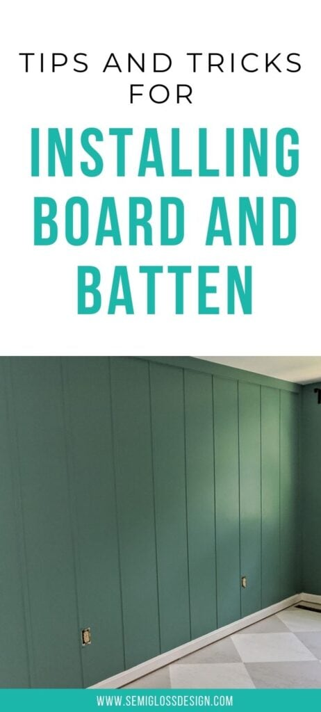 pin image - teal board and batten wall in a bedroom with text overlay