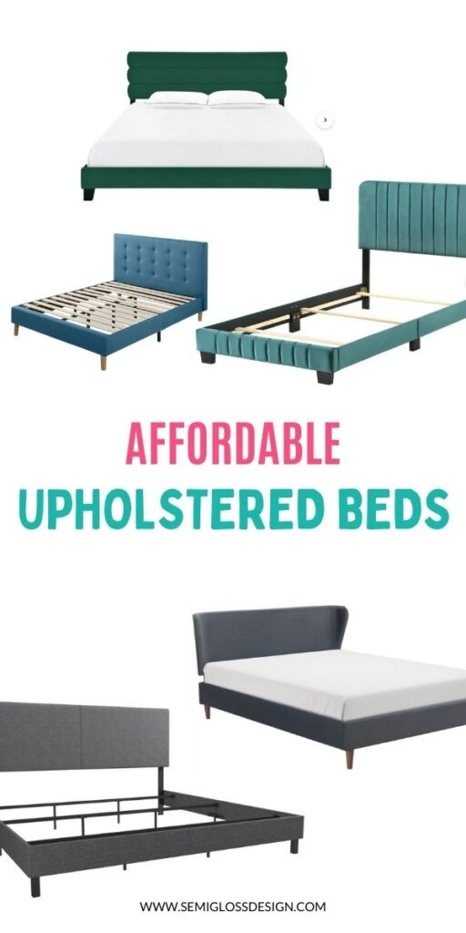 pin image - collage of affordable upholstered beds