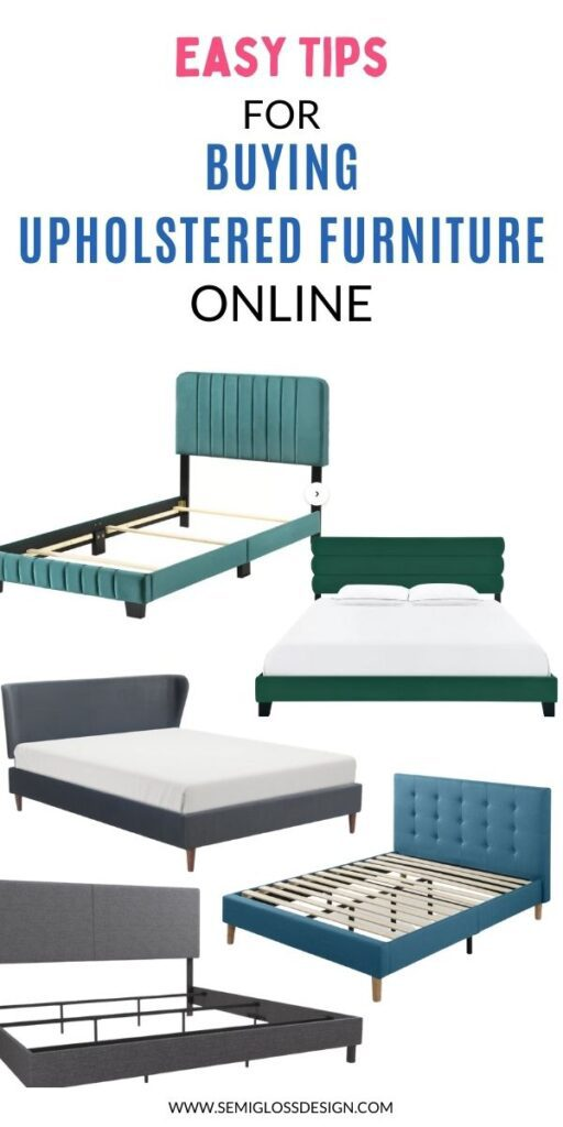 pin image - collage of upholstered beds
