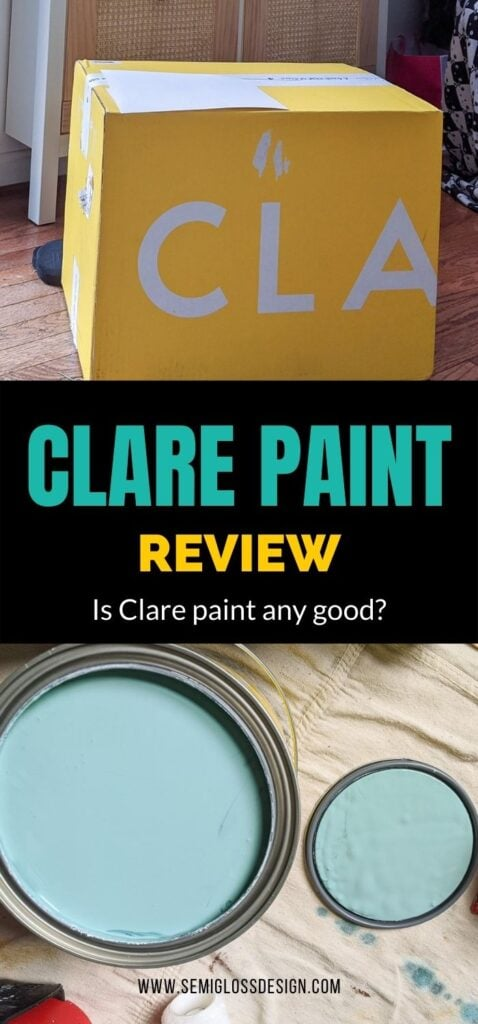 pin image - collage of Clare Vacay paint in can and shipping box
