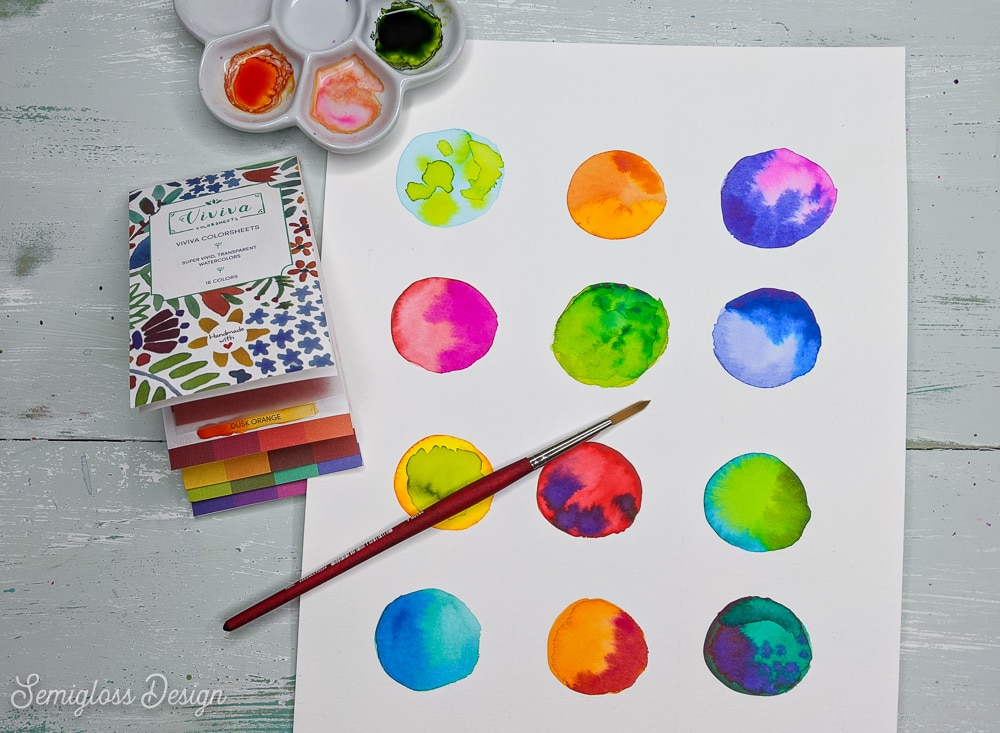 easy watercolor art of colorful dots with watercolor sheets and brush