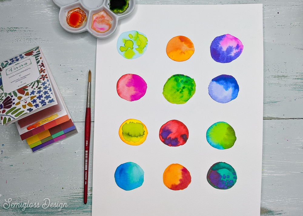 watercolor circles on paper with viviva colorsheets and palette