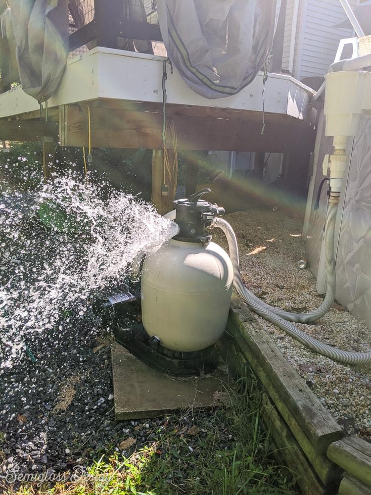 pool pump releasing water