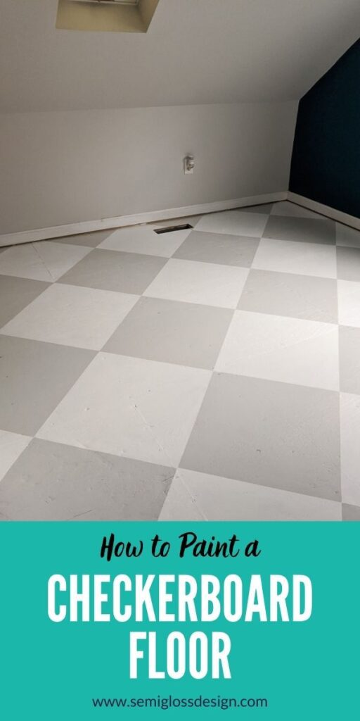 pin image - painted checkerboard floor in white and gray