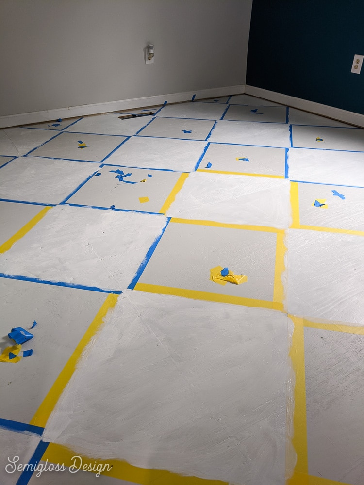 first coat of painted checkerboard floor