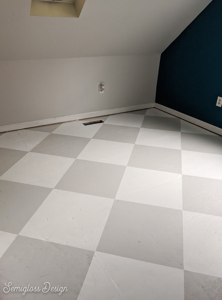 floor painted with a checkerboard pattern