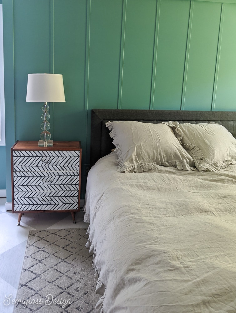 IKEA rast dresser makeover in teal room with gray bedding