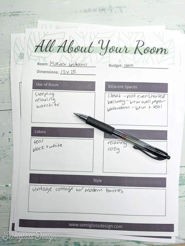 printed room makeover planner for