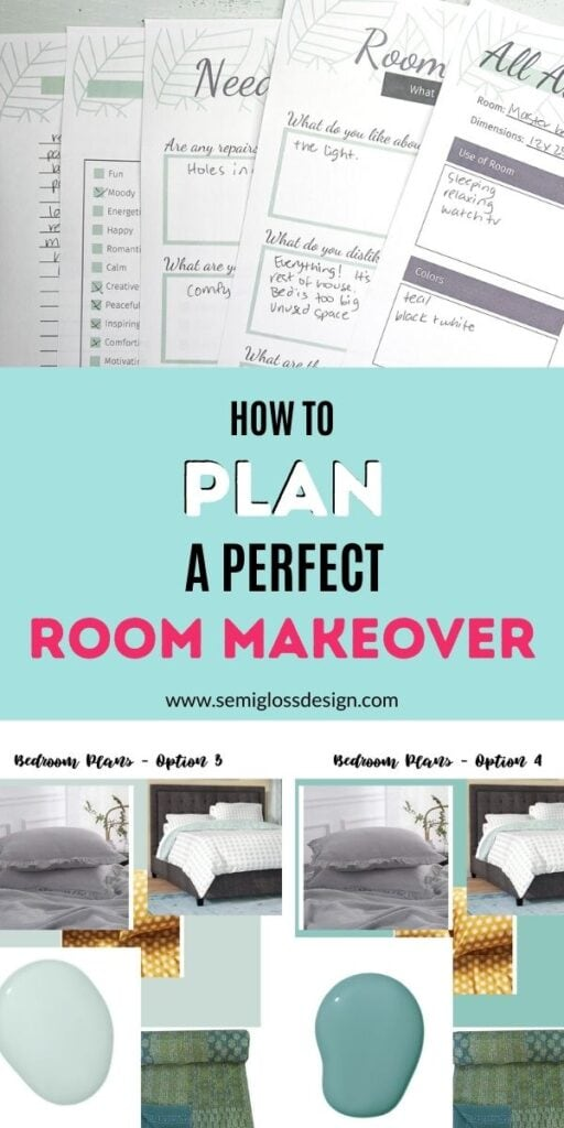 pin image - printed room makeover and mood boards for bedroom