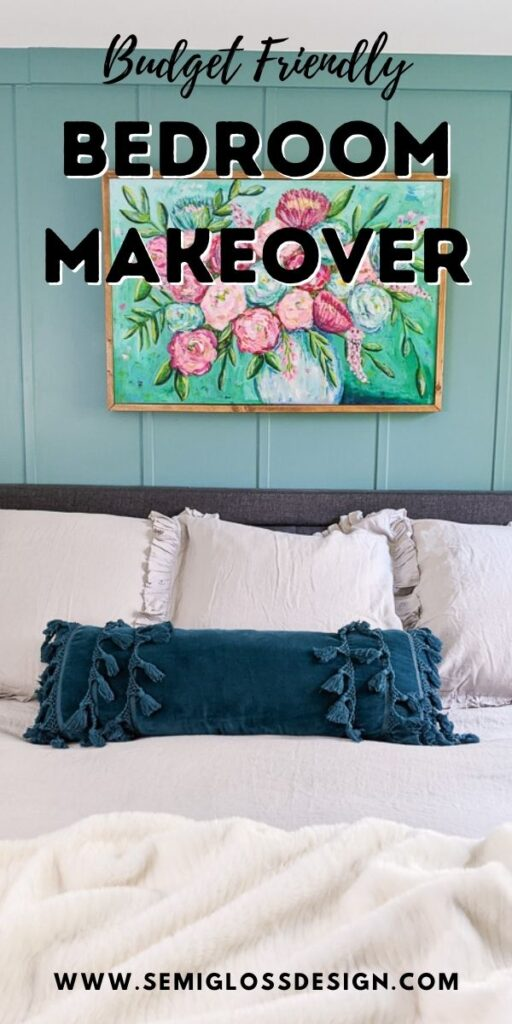 pin image - bedroom makeover text overlay over bed