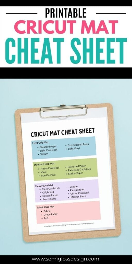 pin image - cricut mat cheat sheet on clipboard