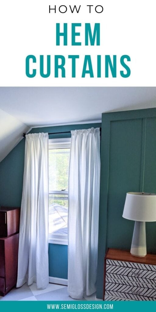 pin image- hemmed white curtains against teal walls