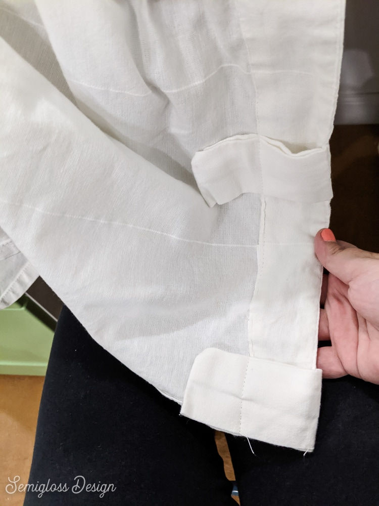 sewing curtain tabs down