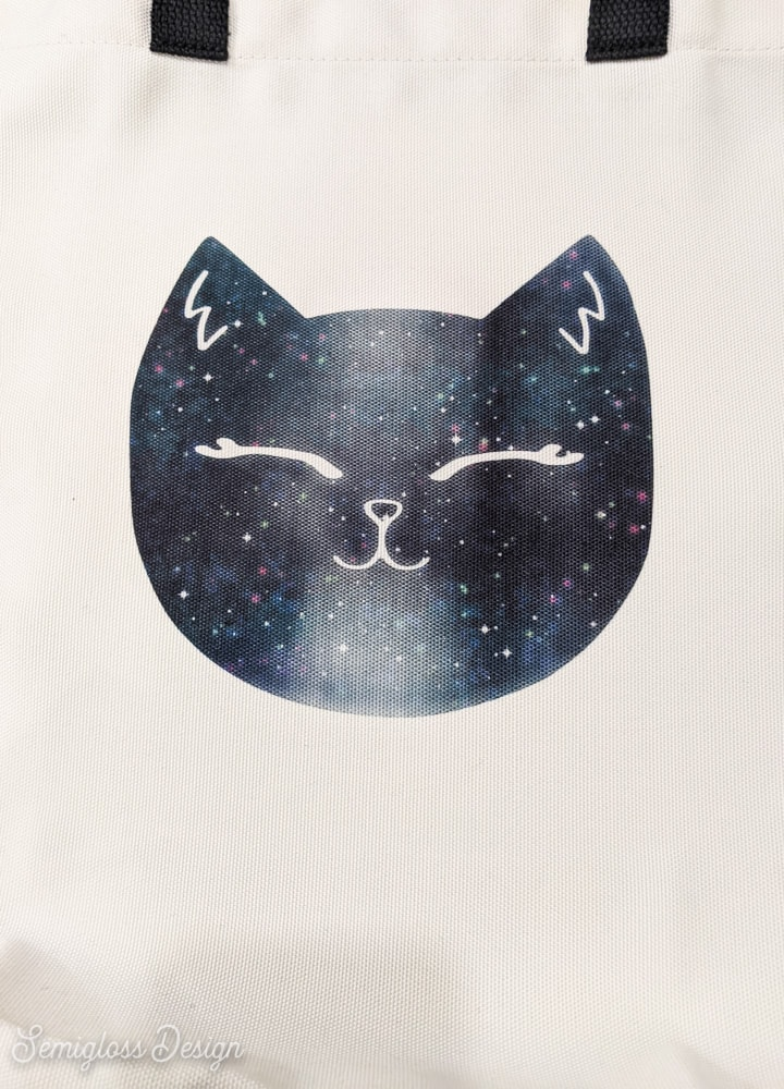 galaxy cat design on tote bag