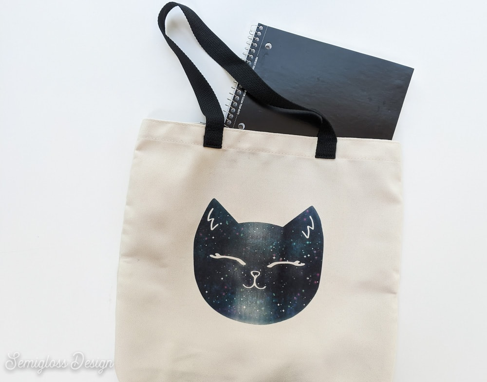 galaxy cat tote bag with notebag