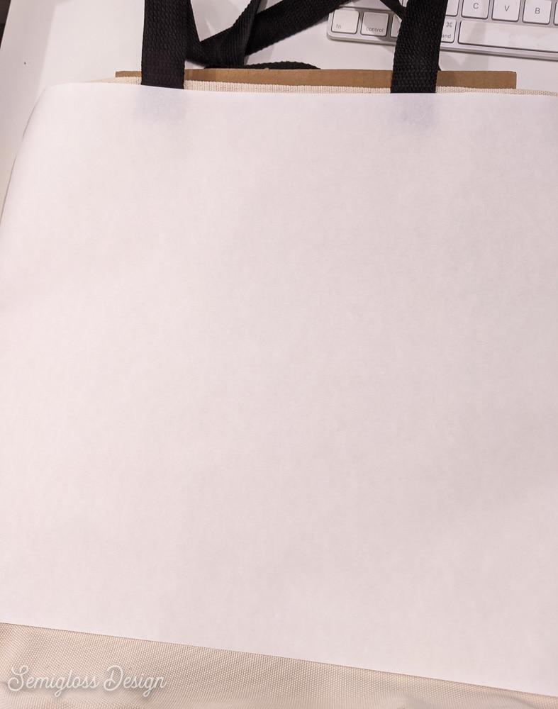butcher paper over totebag