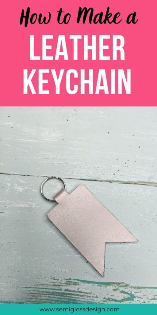 pin image - rose gold leather keychain on blue wood background