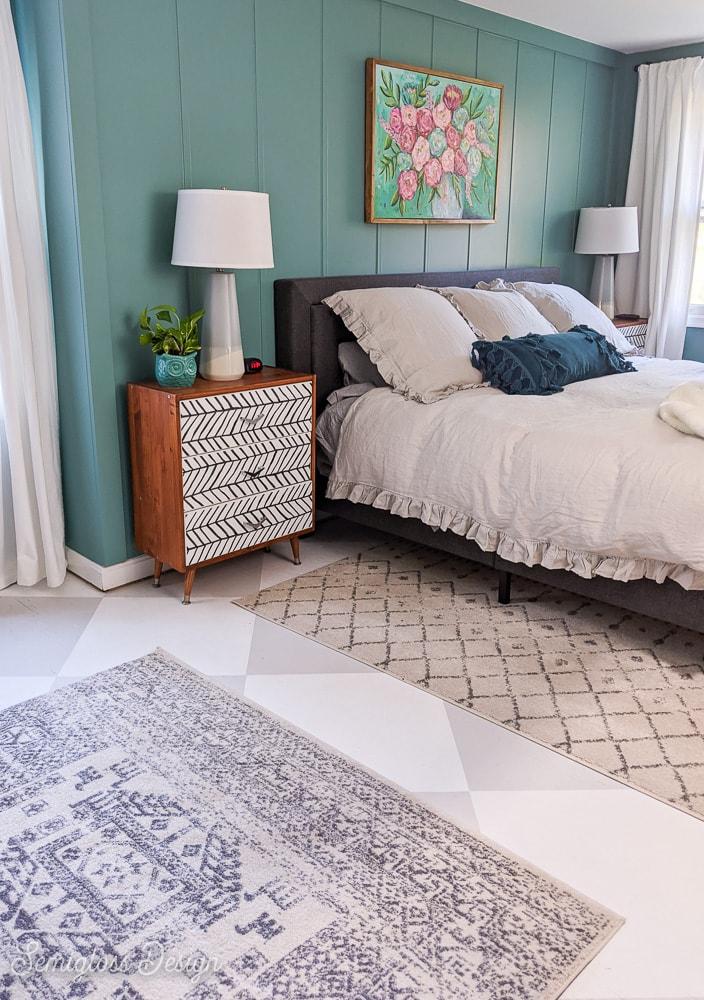 painted checkerboard floors under rooms in bedroom