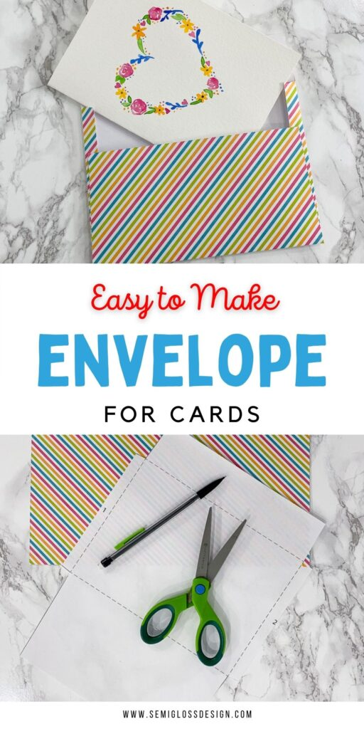 pin image - collage of paper and scissors with a photo of a heart card and striped envelope