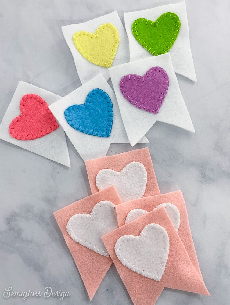felt hearts on flags