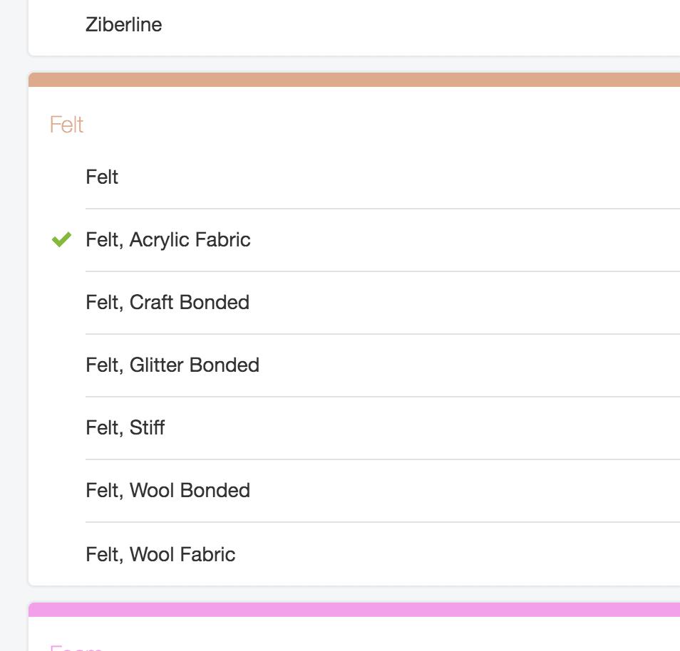 felt cutting options for cricut