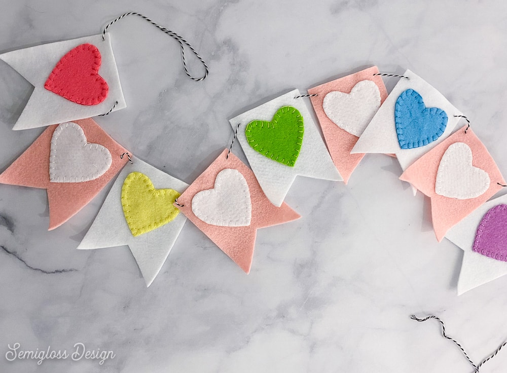 heart banner on marble background