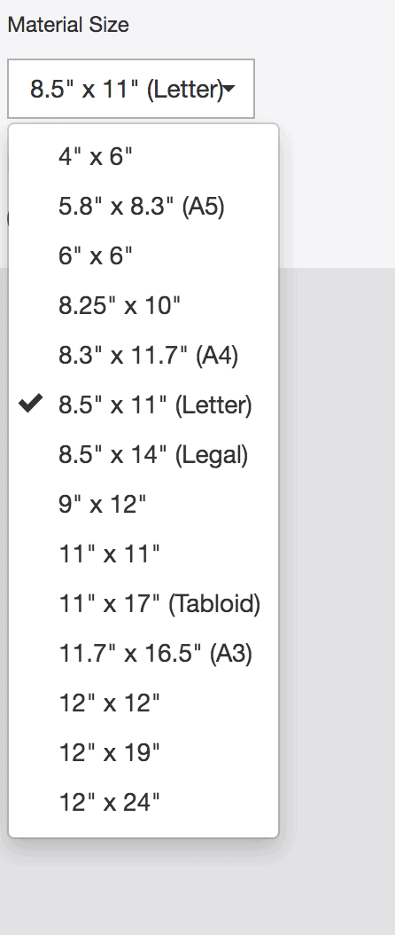 screenshot of cricut material sizes