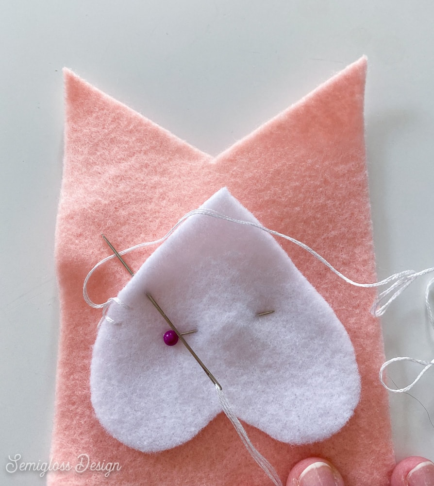 blanket stitch on felt heart