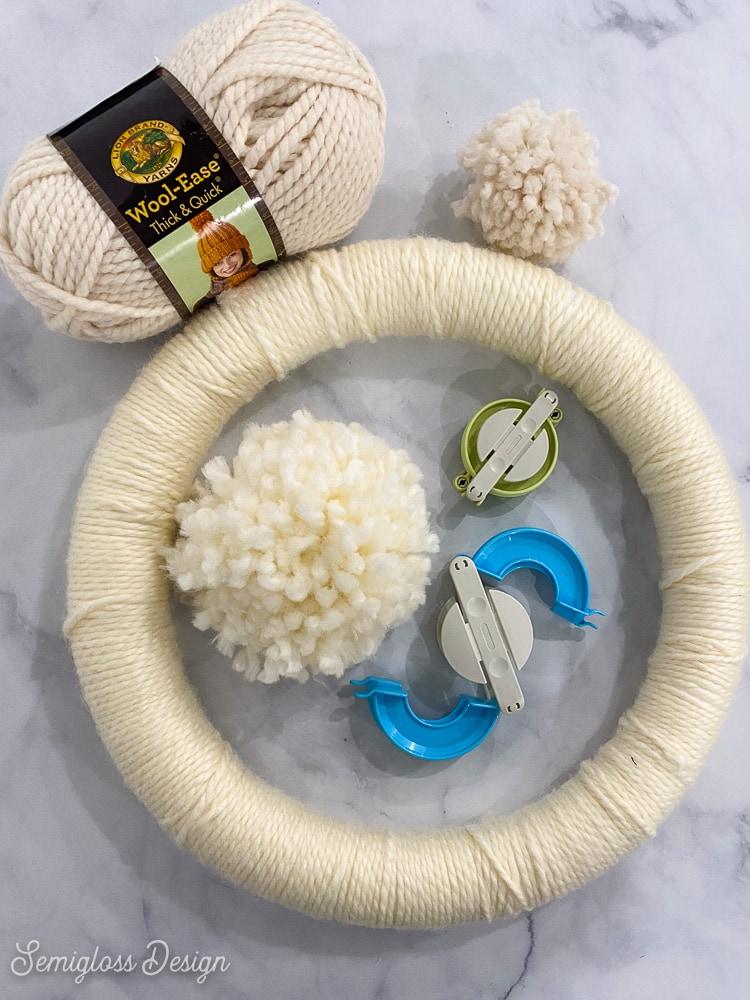 supplies for making pom pom wreath