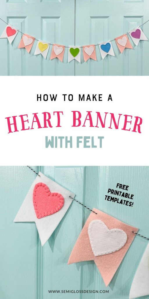 pin image - felt heart banner on blue door