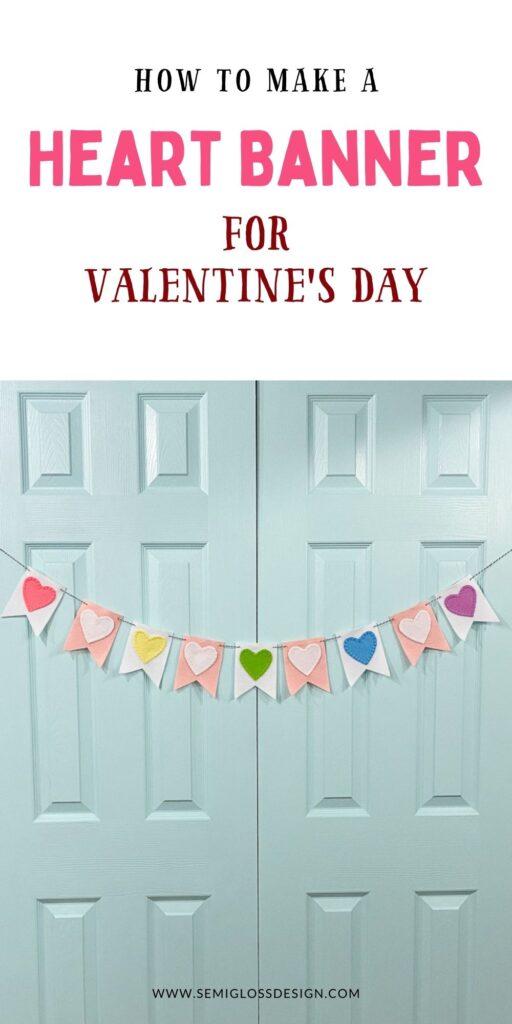 heart banner on blue doors