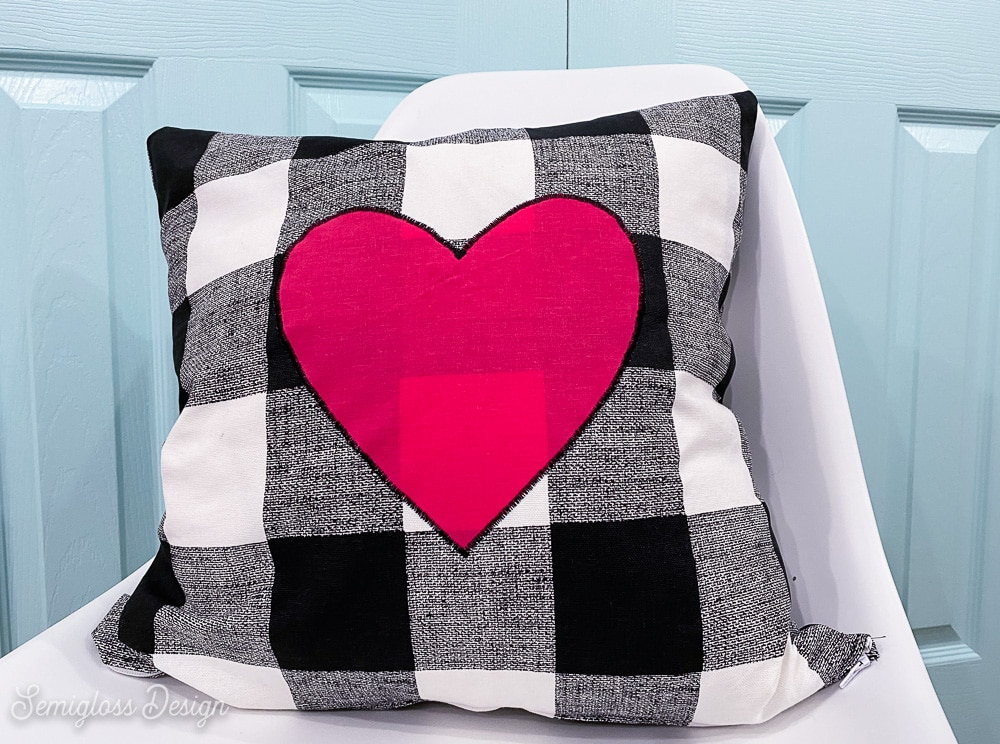 pillow with hot pink heart