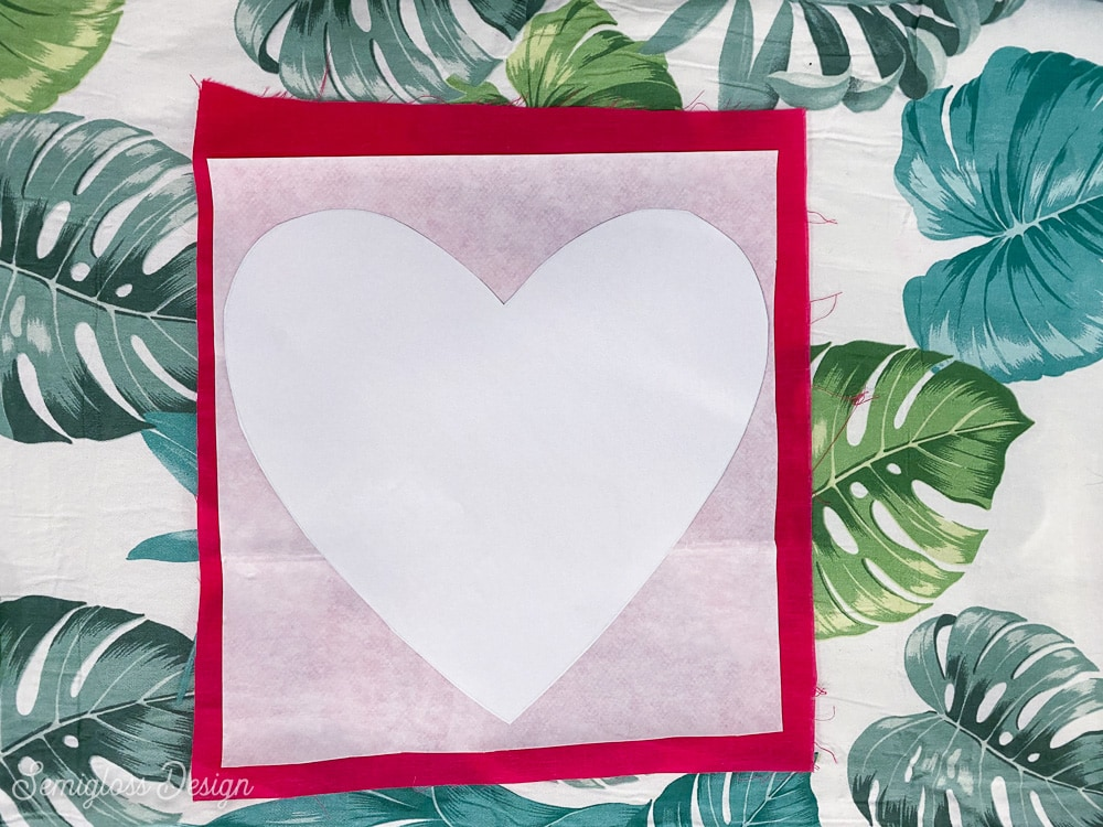 tracing heart template onto fabric