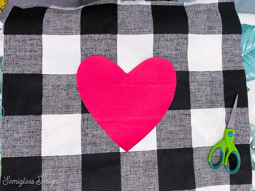 pink heart on buffalo check fabric