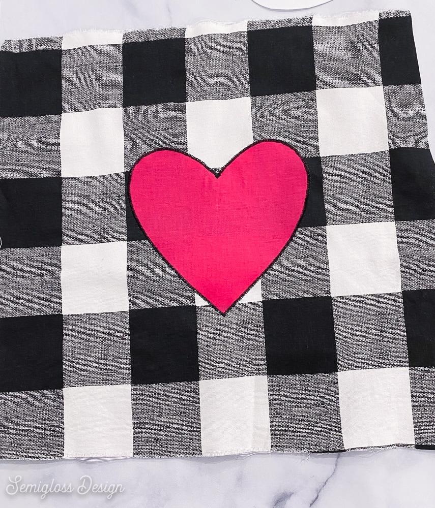 heart applique on buffalo check fabric