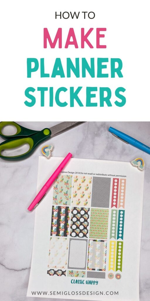 printed planner stickers with pens