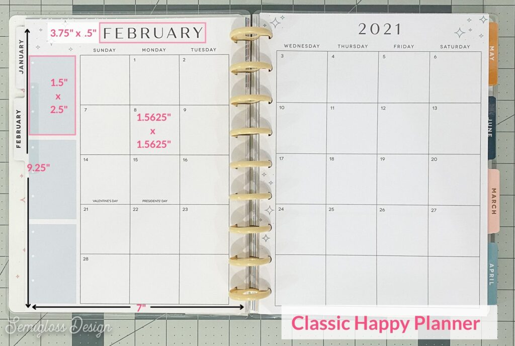 classic happy planner sizes on calendar view