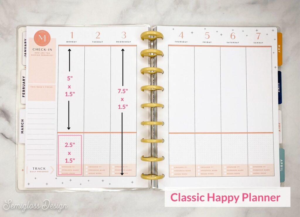 classic happy planner box sizes