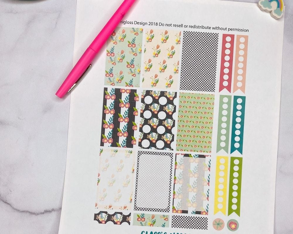 close up of printed planner stickers