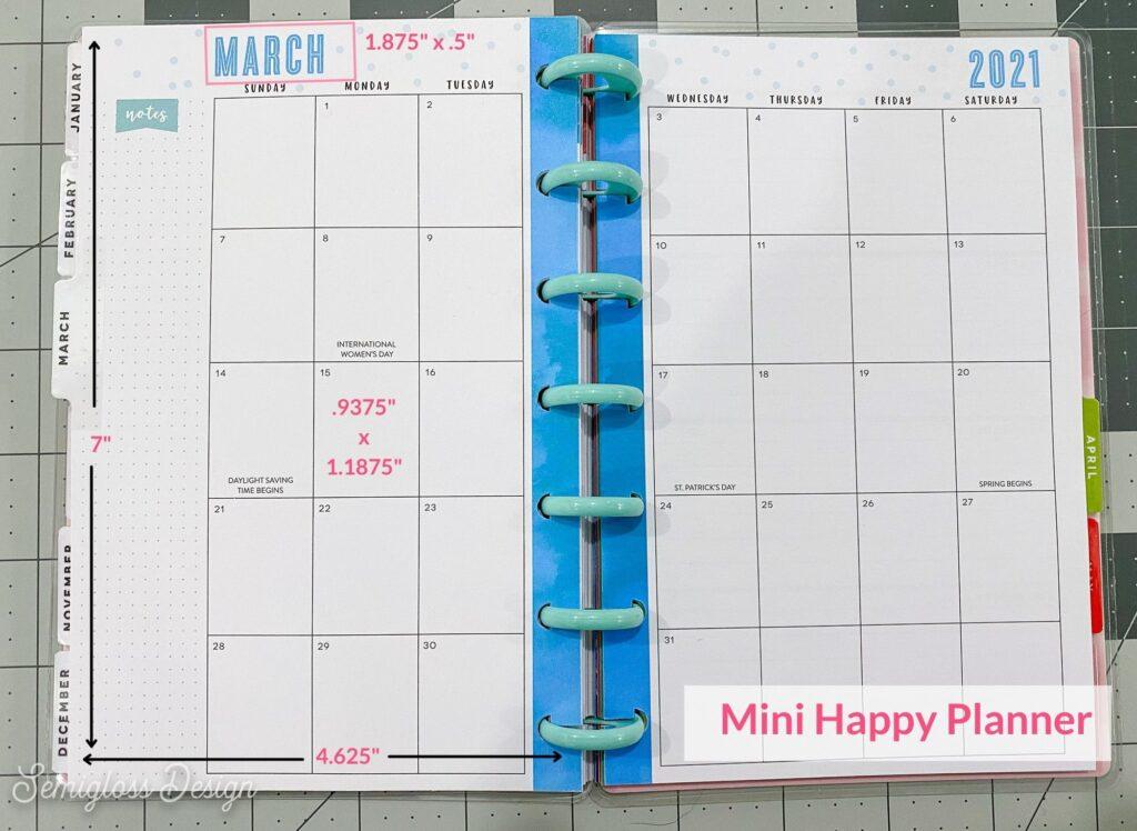 mini happy planner box dimensions