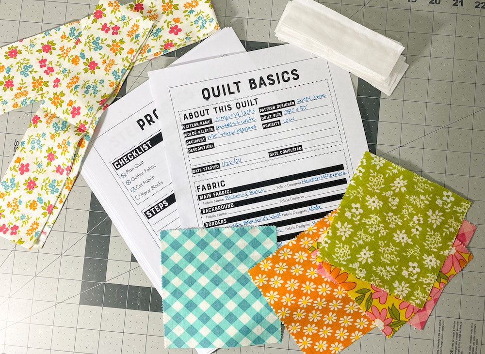 quilting planner and fabric squares