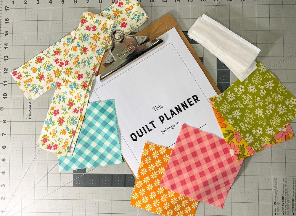 quilt planner with cut fabric