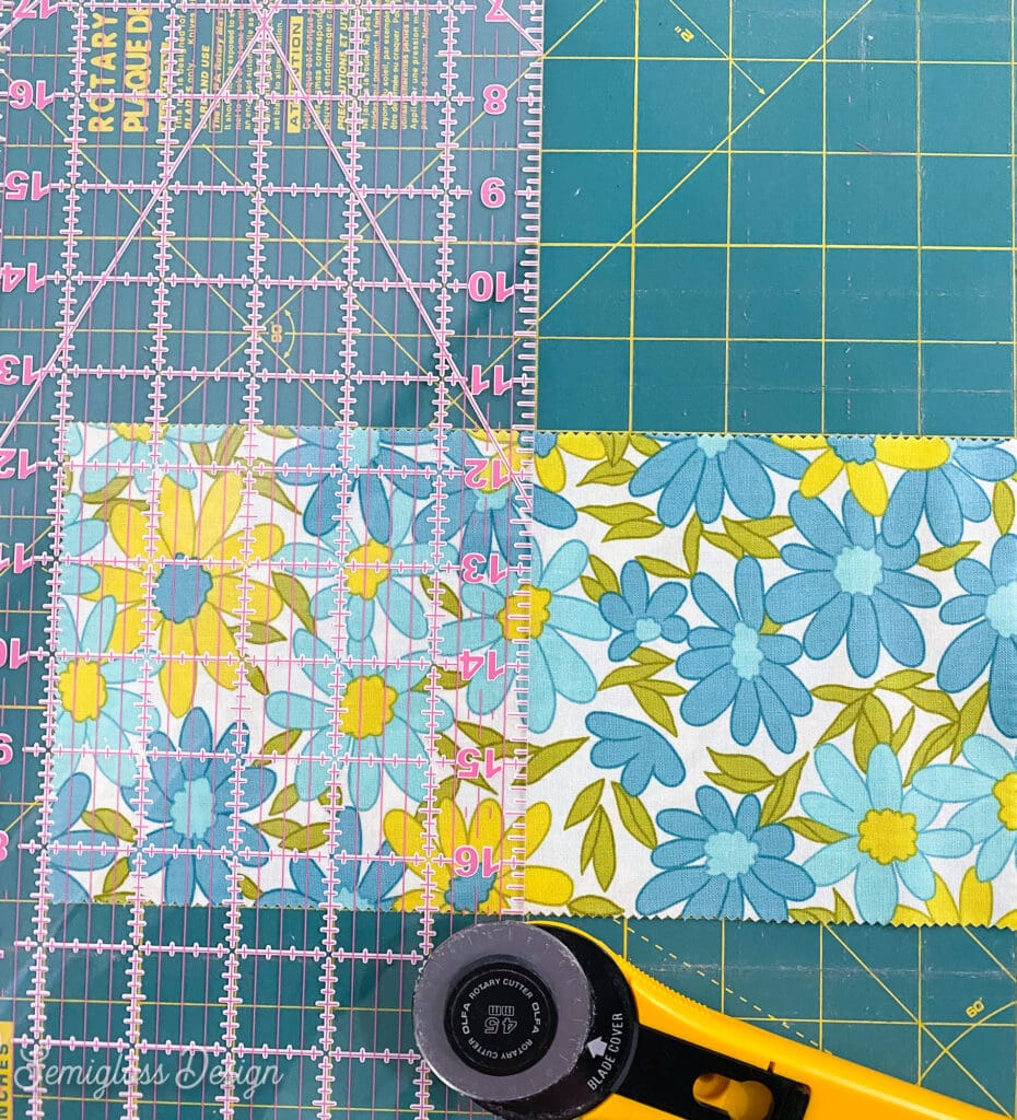 cutting floral fabric with rotary cutter