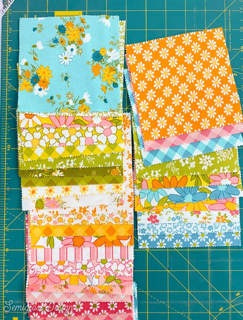 floral fabric on cutting mat