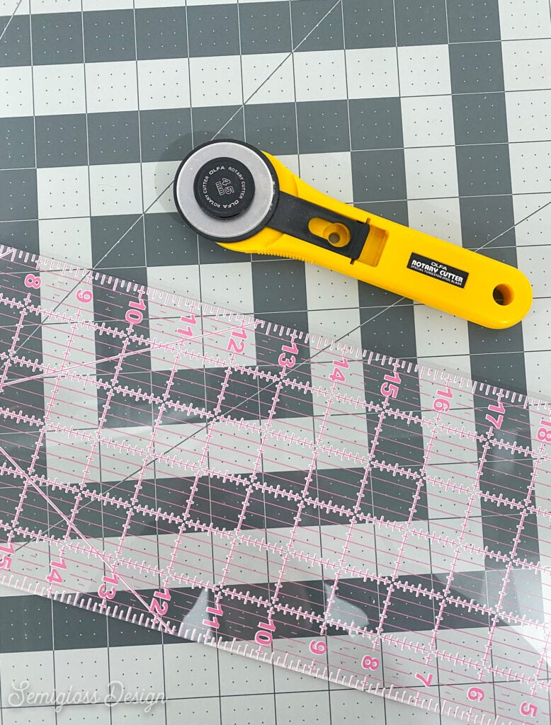 rotary cutter, ruler, and cutting mat