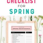 pin image - clipboard with checklist on floral background