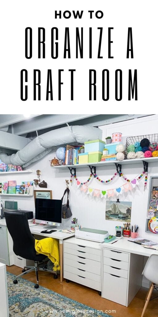 pin image - organize a craft room, picture of desks in craft room