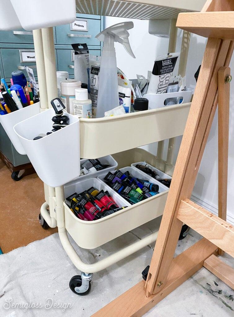 ikea cart with art supplies