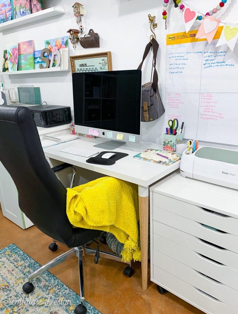 computer desk in craft room