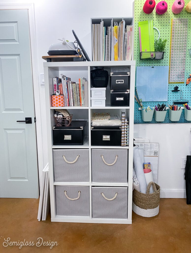 kallax shelf with craft supply storage